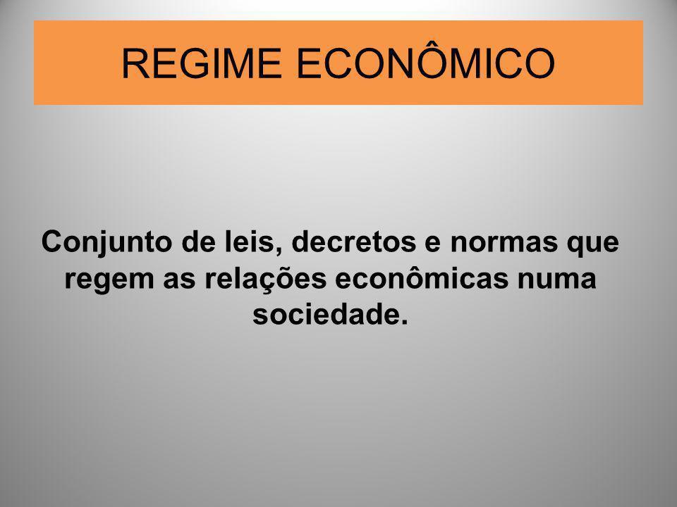 REGIME ECONÔMICO Conjunto de leis, decretos e normas que regem as relações econômicas numa sociedade.