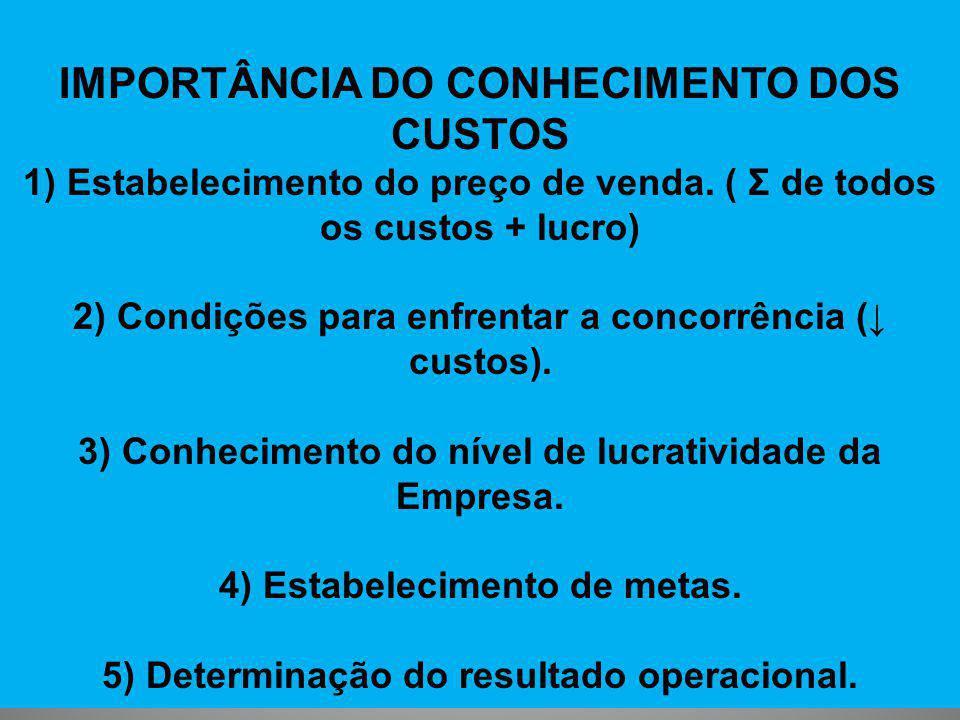 IMPORTÂNCIA DO CONHECIMENTO DOS CUSTOS 1) Estabelecimento do preço de venda. ( Σ de todos os custos + lucro) 2) Condições para enfrentar a concorrênci