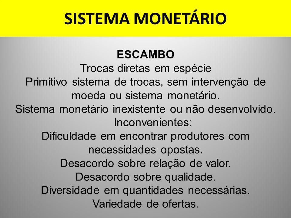 SISTEMA MONETÁRIO ESCAMBO Trocas diretas em espécie Primitivo sistema de trocas, sem intervenção de moeda ou sistema monetário. Sistema monetário inex