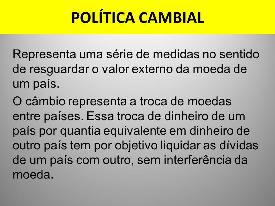 POLÍTICA CAMBIAL Representa uma série de medidas no sentido de resguardar o valor externo da moeda de um país. O câmbio representa a troca de moedas e