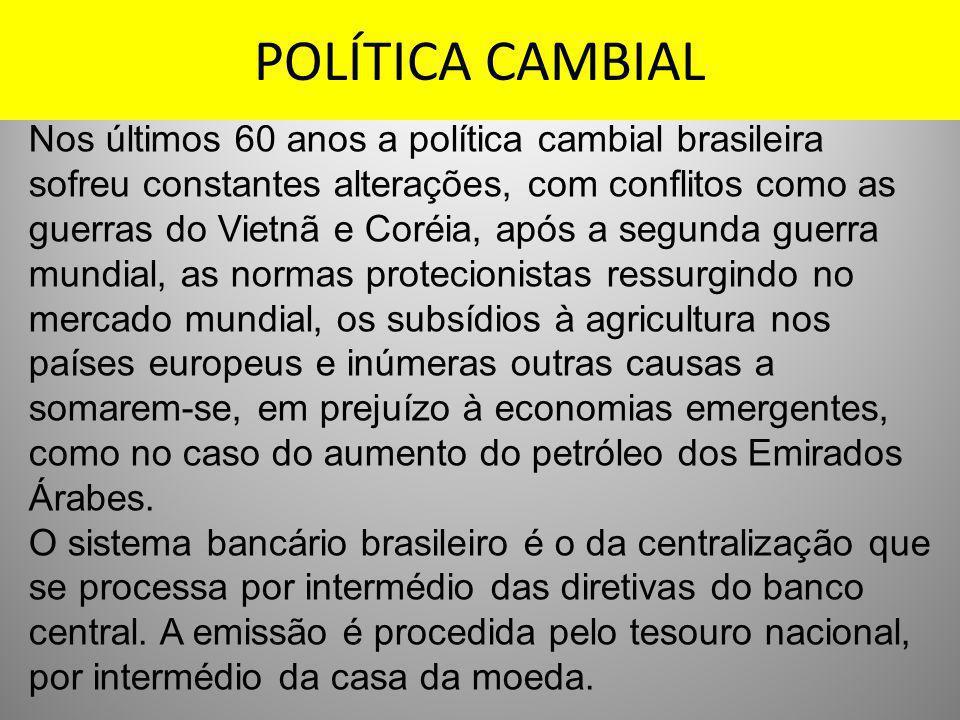POLÍTICA CAMBIAL Nos últimos 60 anos a política cambial brasileira sofreu constantes alterações, com conflitos como as guerras do Vietnã e Coréia, apó