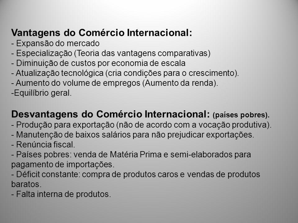 Vantagens do Comércio Internacional: - Expansão do mercado - Especialização (Teoria das vantagens comparativas) - Diminuição de custos por economia de