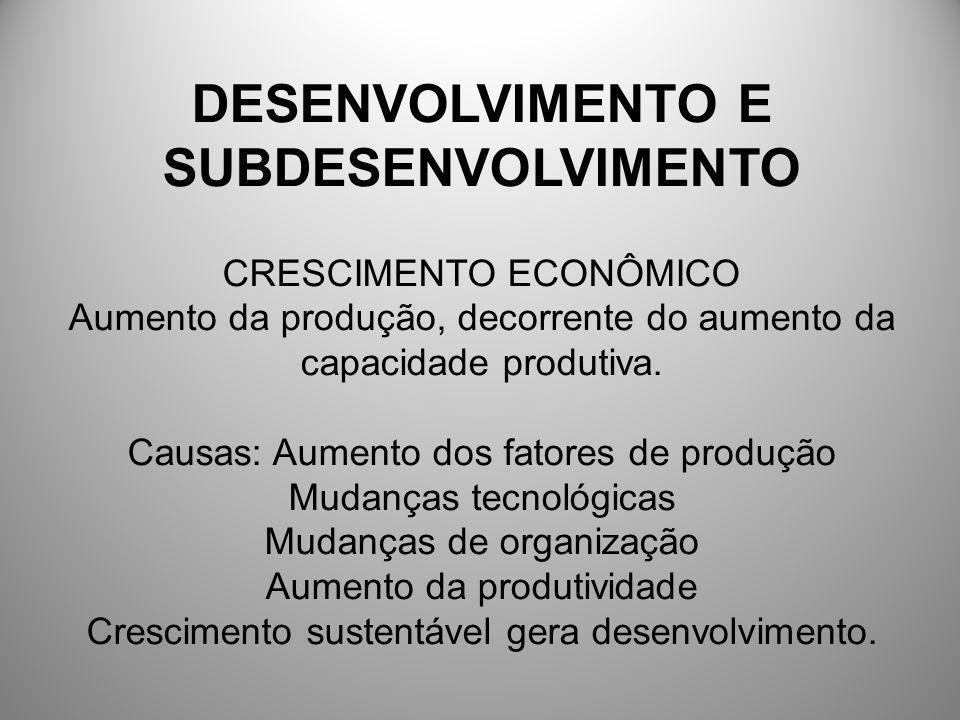DESENVOLVIMENTO E SUBDESENVOLVIMENTO CRESCIMENTO ECONÔMICO Aumento da produção, decorrente do aumento da capacidade produtiva. Causas: Aumento dos fat