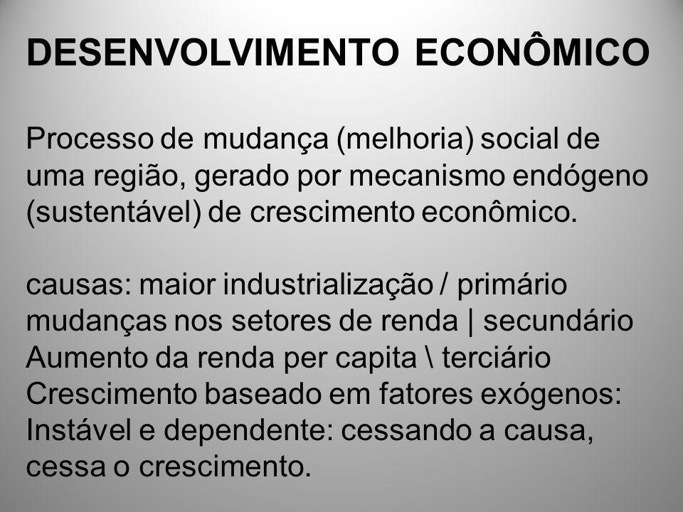 DESENVOLVIMENTO ECONÔMICO Processo de mudança (melhoria) social de uma região, gerado por mecanismo endógeno (sustentável) de crescimento econômico. c