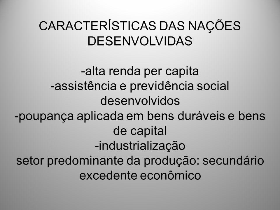 CARACTERÍSTICAS DAS NAÇÕES DESENVOLVIDAS -alta renda per capita -assistência e previdência social desenvolvidos -poupança aplicada em bens duráveis e