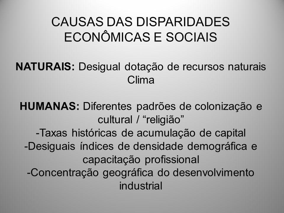 CAUSAS DAS DISPARIDADES ECONÔMICAS E SOCIAIS NATURAIS: Desigual dotação de recursos naturais Clima HUMANAS: Diferentes padrões de colonização e cultur