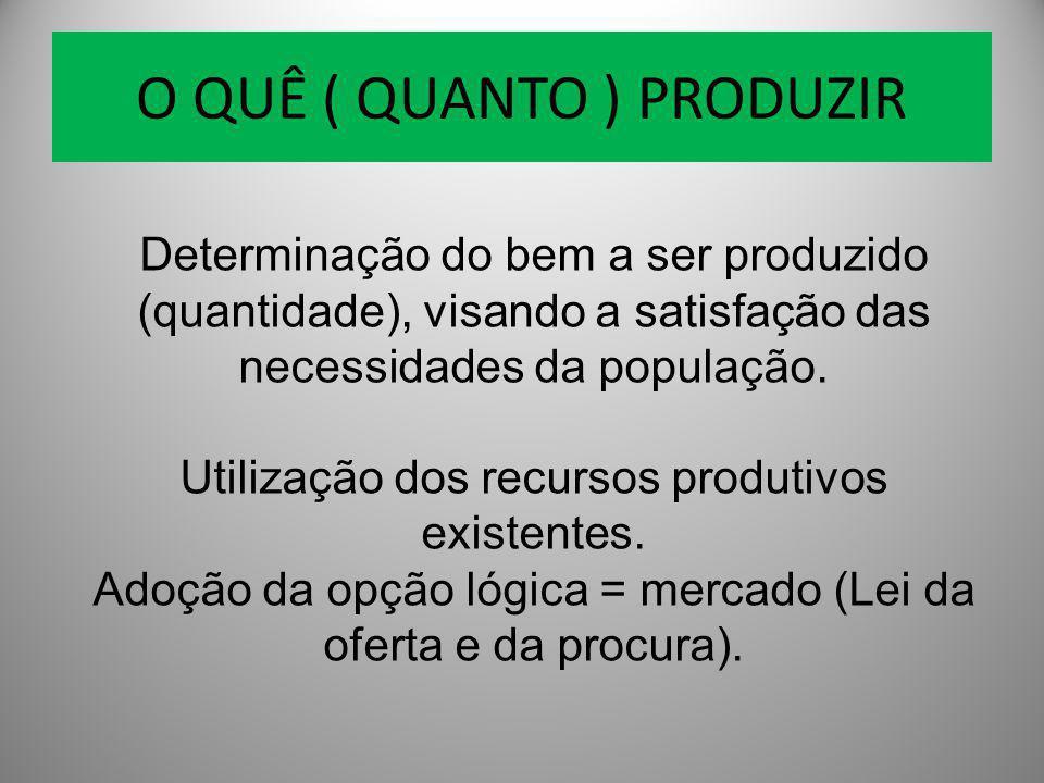 O QUÊ ( QUANTO ) PRODUZIR Determinação do bem a ser produzido (quantidade), visando a satisfação das necessidades da população. Utilização dos recurso