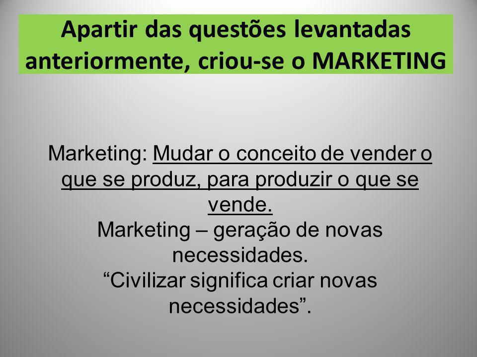 Apartir das questões levantadas anteriormente, criou-se o MARKETING Marketing: Mudar o conceito de vender o que se produz, para produzir o que se vend