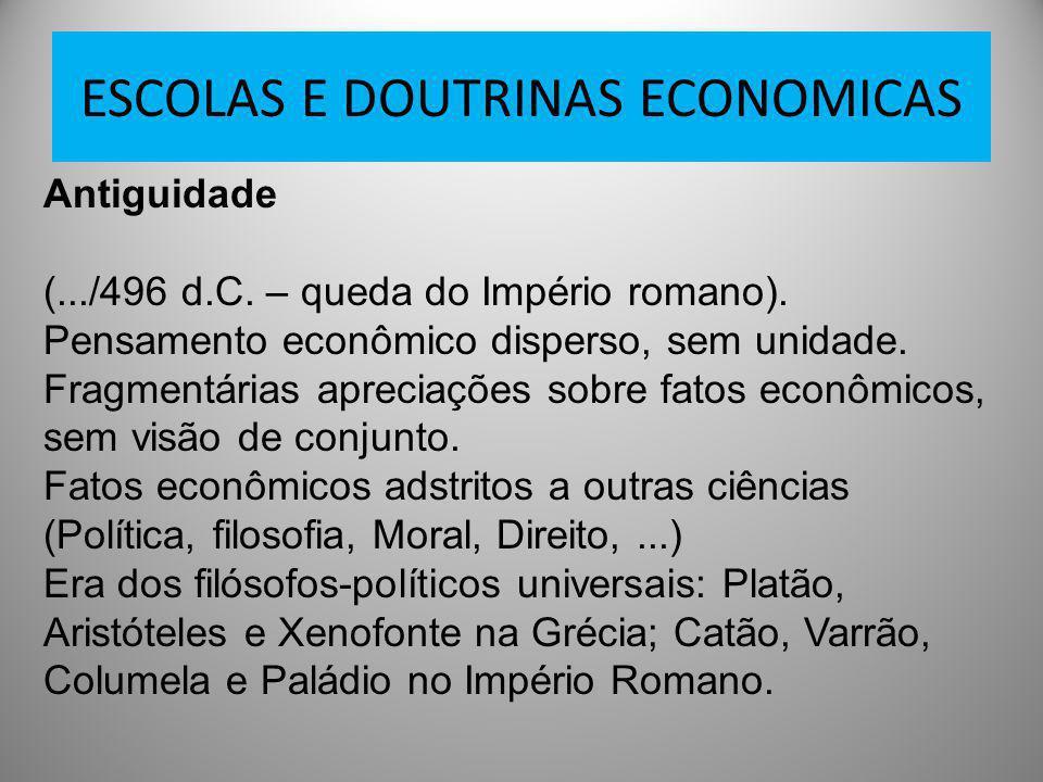 ESCOLAS E DOUTRINAS ECONOMICAS Antiguidade (.../496 d.C. – queda do Império romano). Pensamento econômico disperso, sem unidade. Fragmentárias aprecia