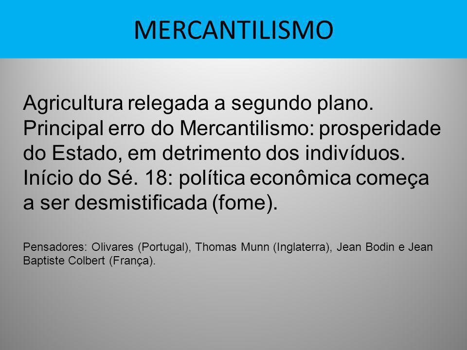MERCANTILISMO Agricultura relegada a segundo plano. Principal erro do Mercantilismo: prosperidade do Estado, em detrimento dos indivíduos. Início do S