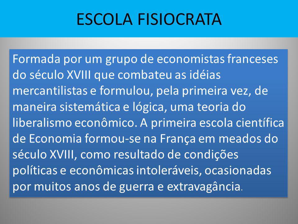 ESCOLA FISIOCRATA Formada por um grupo de economistas franceses do século XVIII que combateu as idéias mercantilistas e formulou, pela primeira vez, d