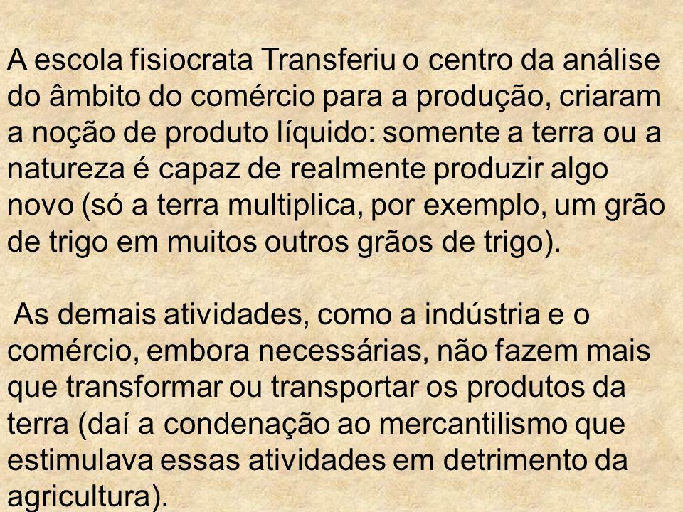 A escola fisiocrata Transferiu o centro da análise do âmbito do comércio para a produção, criaram a noção de produto líquido: somente a terra ou a nat