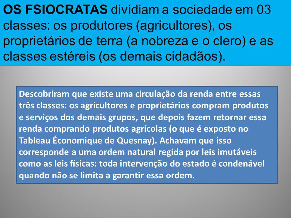 OS FSIOCRATAS dividiam a sociedade em 03 classes: os produtores (agricultores), os proprietários de terra (a nobreza e o clero) e as classes estéreis