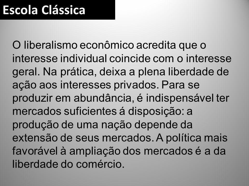 O liberalismo econômico acredita que o interesse individual coincide com o interesse geral. Na prática, deixa a plena liberdade de ação aos interesses