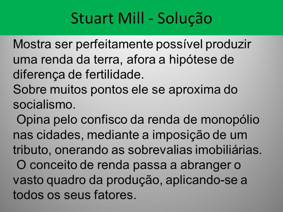 Stuart Mill - Solução Mostra ser perfeitamente possível produzir uma renda da terra, afora a hipótese de diferença de fertilidade. Sobre muitos pontos