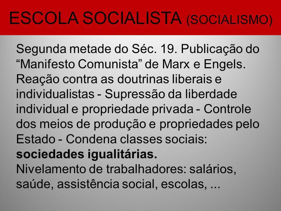 """ESCOLA SOCIALISTA (SOCIALISMO) Segunda metade do Séc. 19. Publicação do """"Manifesto Comunista"""" de Marx e Engels. Reação contra as doutrinas liberais e"""