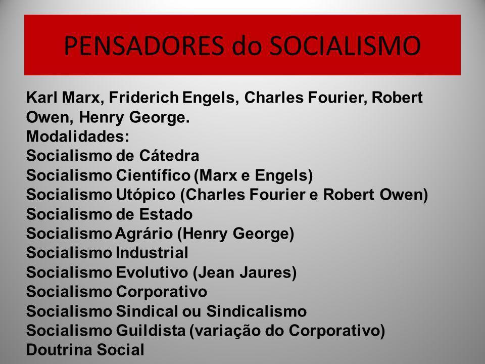 PENSADORES do SOCIALISMO Karl Marx, Friderich Engels, Charles Fourier, Robert Owen, Henry George. Modalidades: Socialismo de Cátedra Socialismo Cientí
