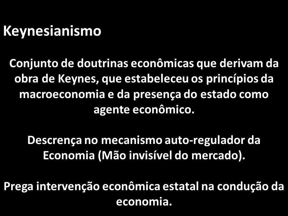 Keynesianismo Conjunto de doutrinas econômicas que derivam da obra de Keynes, que estabeleceu os princípios da macroeconomia e da presença do estado c