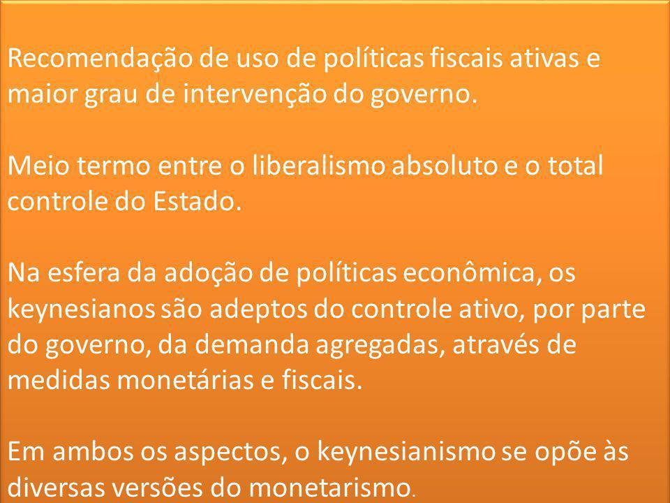 Recomendação de uso de políticas fiscais ativas e maior grau de intervenção do governo. Meio termo entre o liberalismo absoluto e o total controle do