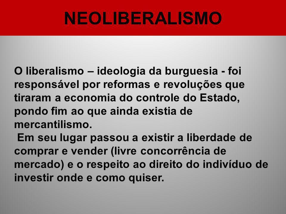 NEOLIBERALISMO O liberalismo – ideologia da burguesia - foi responsável por reformas e revoluções que tiraram a economia do controle do Estado, pondo