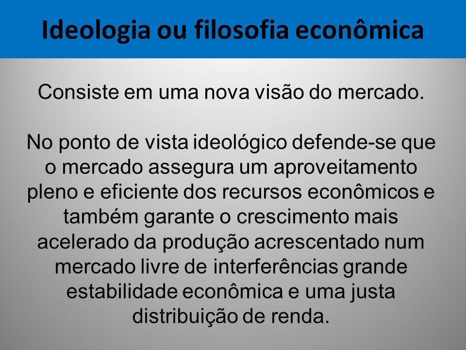 Ideologia ou filosofia econômica Consiste em uma nova visão do mercado. No ponto de vista ideológico defende-se que o mercado assegura um aproveitamen