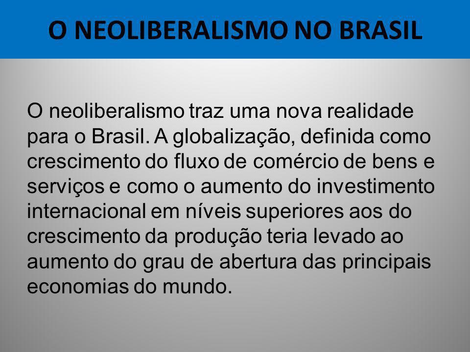 O NEOLIBERALISMO NO BRASIL O neoliberalismo traz uma nova realidade para o Brasil. A globalização, definida como crescimento do fluxo de comércio de b