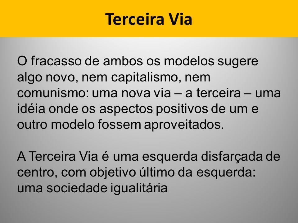 Terceira Via O fracasso de ambos os modelos sugere algo novo, nem capitalismo, nem comunismo: uma nova via – a terceira – uma idéia onde os aspectos p