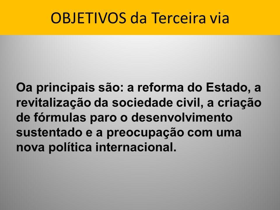 OBJETIVOS da Terceira via Oa principais são: a reforma do Estado, a revitalização da sociedade civil, a criação de fórmulas paro o desenvolvimento sus
