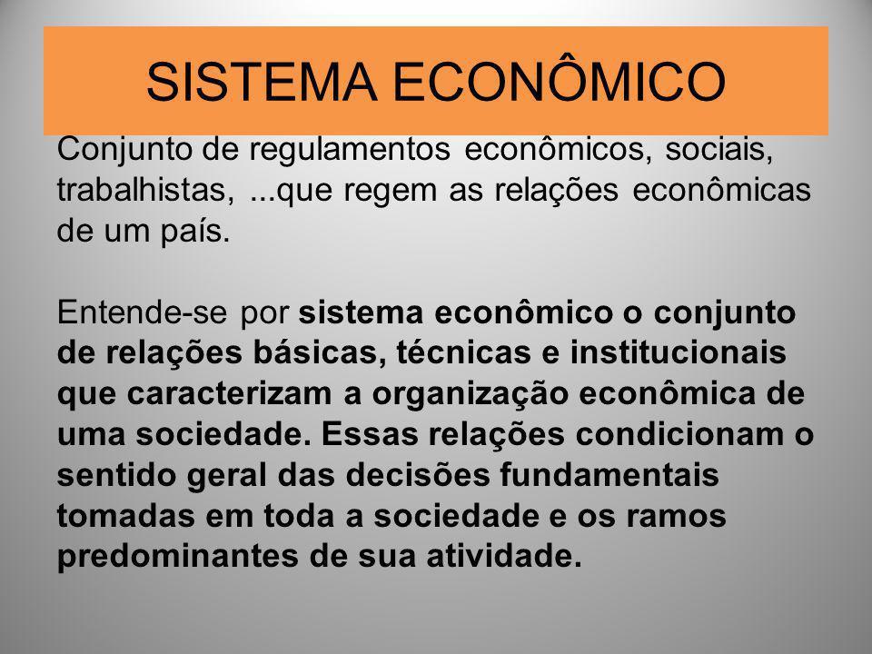 SISTEMA ECONÔMICO Conjunto de regulamentos econômicos, sociais, trabalhistas,...que regem as relações econômicas de um país. Entende-se por sistema ec