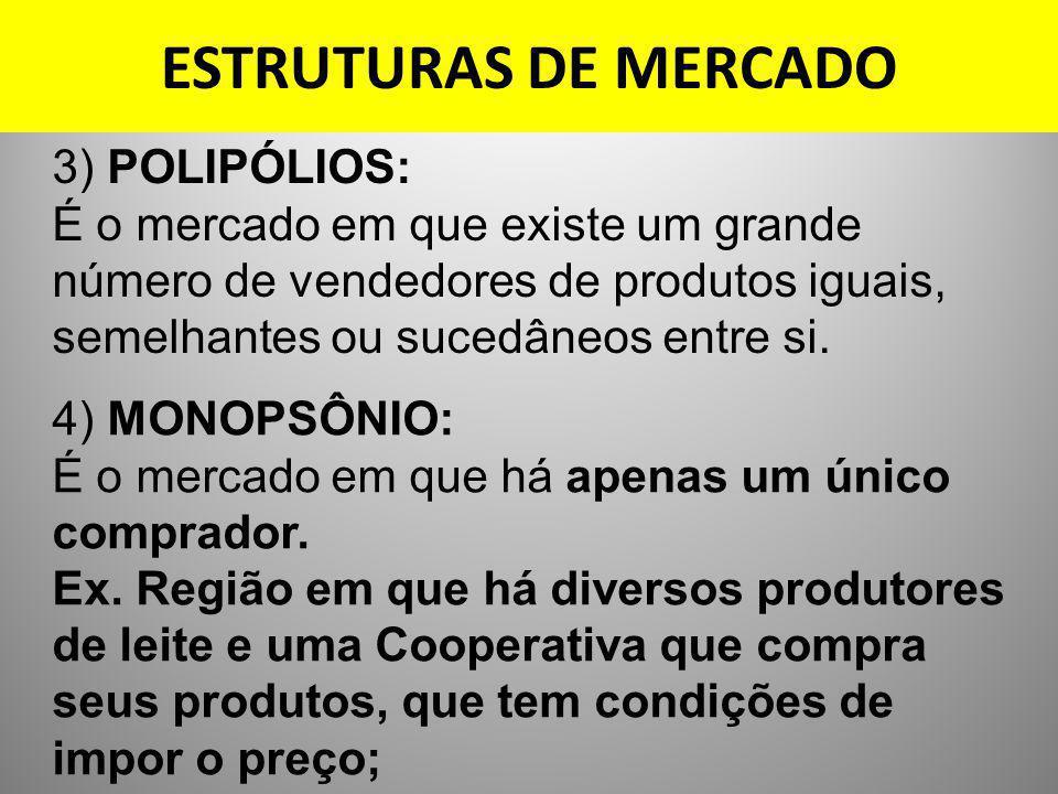 ESTRUTURAS DE MERCADO 3) POLIPÓLIOS: É o mercado em que existe um grande número de vendedores de produtos iguais, semelhantes ou sucedâneos entre si.