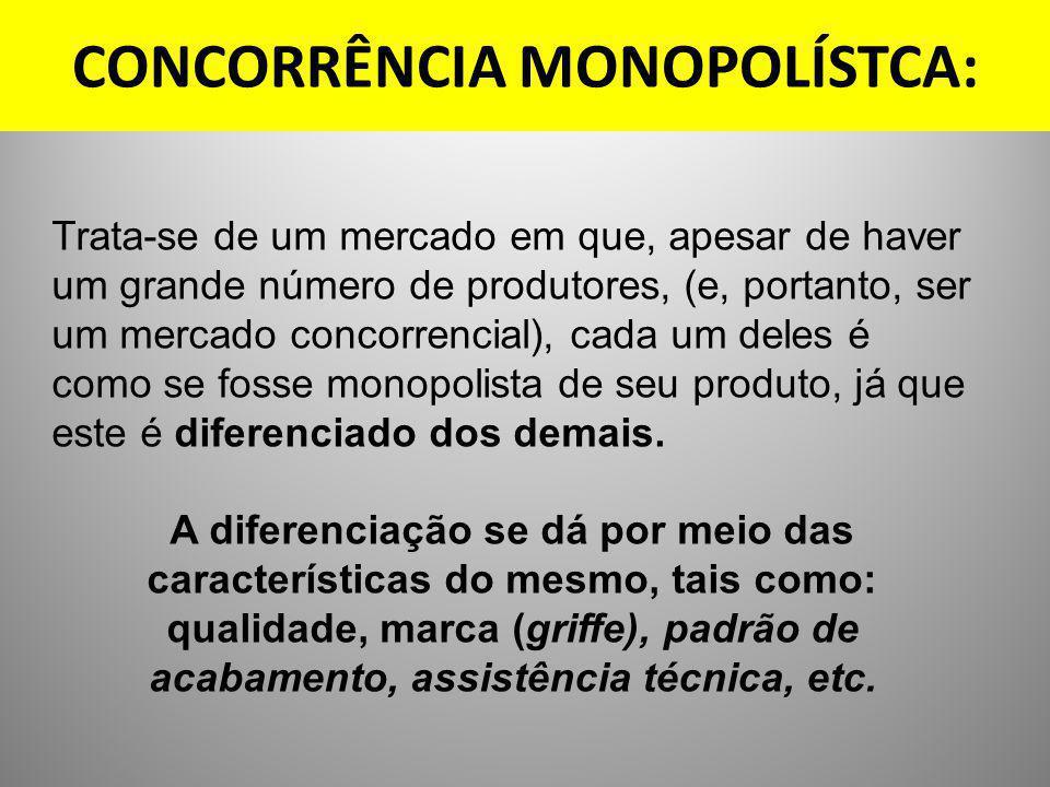 CONCORRÊNCIA MONOPOLÍSTCA: Trata-se de um mercado em que, apesar de haver um grande número de produtores, (e, portanto, ser um mercado concorrencial),