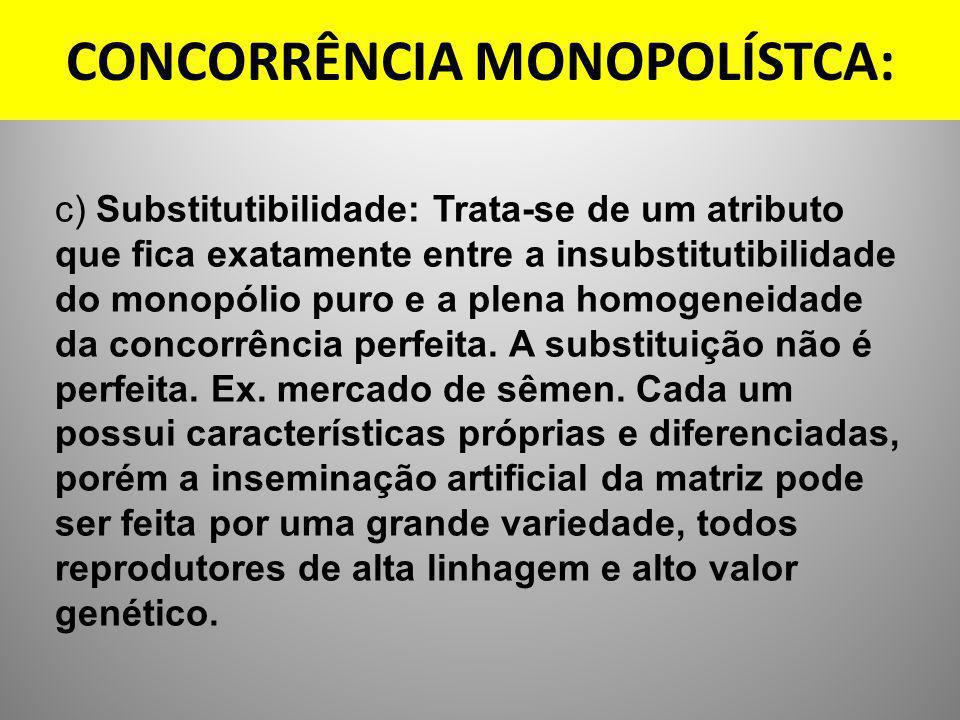 CONCORRÊNCIA MONOPOLÍSTCA: c) Substitutibilidade: Trata-se de um atributo que fica exatamente entre a insubstitutibilidade do monopólio puro e a plena