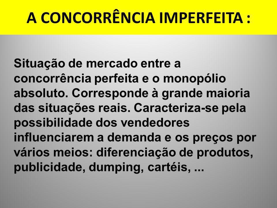 A CONCORRÊNCIA IMPERFEITA : Situação de mercado entre a concorrência perfeita e o monopólio absoluto. Corresponde à grande maioria das situações reais