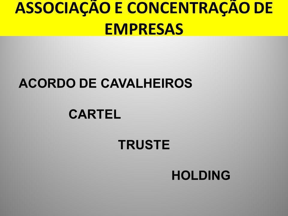ASSOCIAÇÃO E CONCENTRAÇÃO DE EMPRESAS ACORDO DE CAVALHEIROS CARTEL TRUSTE HOLDING