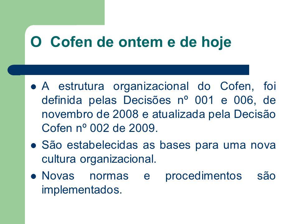 O Cofen de ontem e de hoje  A estrutura organizacional do Cofen, foi definida pelas Decisões nº 001 e 006, de novembro de 2008 e atualizada pela Decisão Cofen nº 002 de 2009.