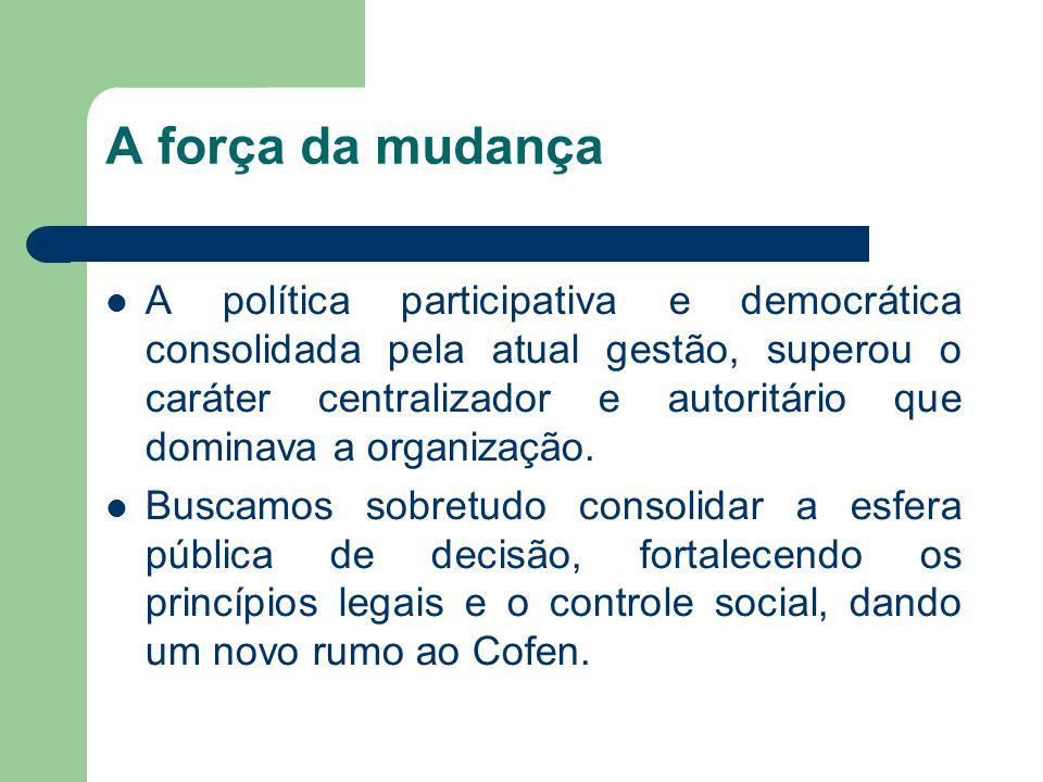 A força da mudança  A política participativa e democrática consolidada pela atual gestão, superou o caráter centralizador e autoritário que dominava a organização.