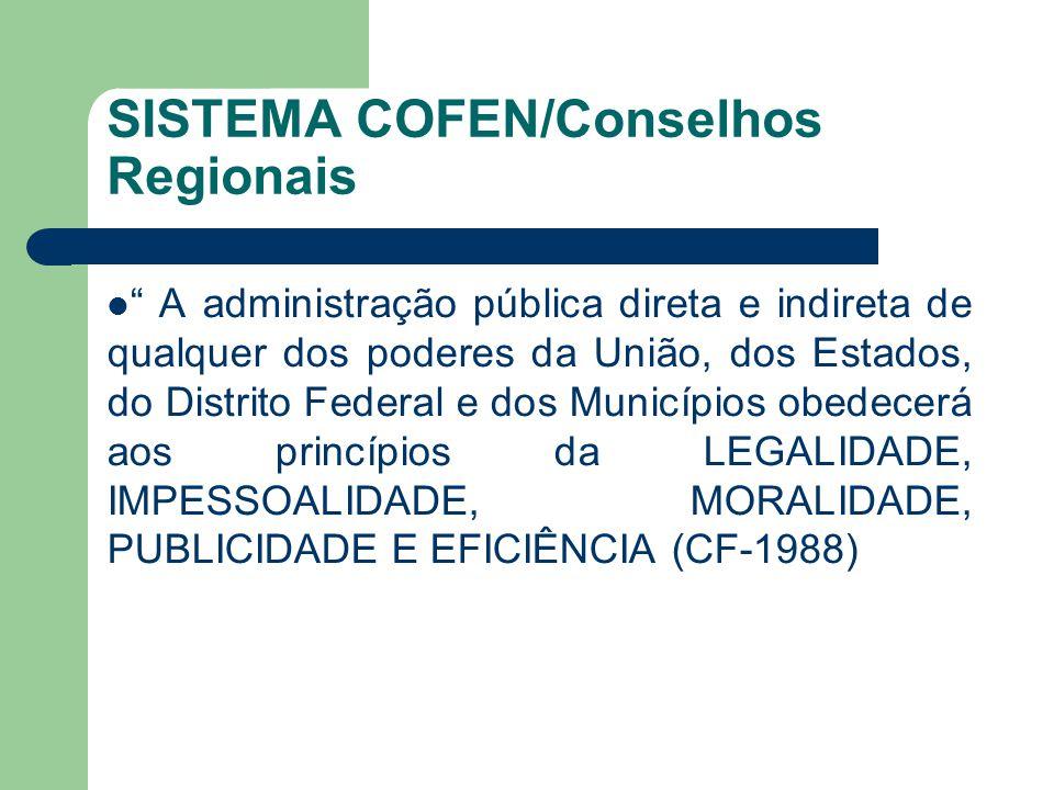 SISTEMA COFEN/Conselhos Regionais  A administração pública direta e indireta de qualquer dos poderes da União, dos Estados, do Distrito Federal e dos Municípios obedecerá aos princípios da LEGALIDADE, IMPESSOALIDADE, MORALIDADE, PUBLICIDADE E EFICIÊNCIA (CF-1988)