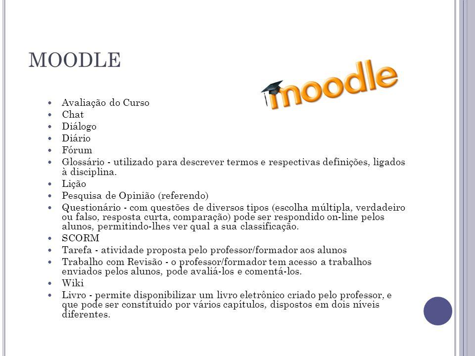 MOODLE  Avaliação do Curso  Chat  Diálogo  Diário  Fórum  Glossário - utilizado para descrever termos e respectivas definições, ligados à disciplina.