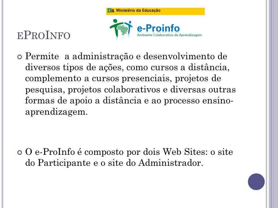 E P RO I NFO Permite a administração e desenvolvimento de diversos tipos de ações, como cursos a distância, complemento a cursos presenciais, projetos de pesquisa, projetos colaborativos e diversas outras formas de apoio a distância e ao processo ensino- aprendizagem.