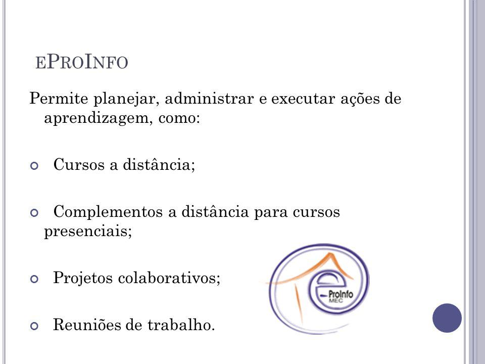 E P RO I NFO Permite planejar, administrar e executar ações de aprendizagem, como: Cursos a distância; Complementos a distância para cursos presenciais; Projetos colaborativos; Reuniões de trabalho.
