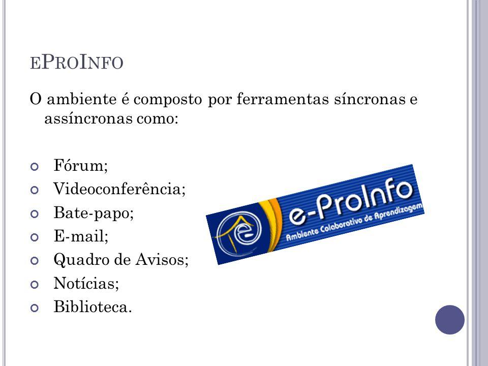 E P RO I NFO O ambiente é composto por ferramentas síncronas e assíncronas como: Fórum; Videoconferência; Bate-papo; E-mail; Quadro de Avisos; Notícias; Biblioteca.
