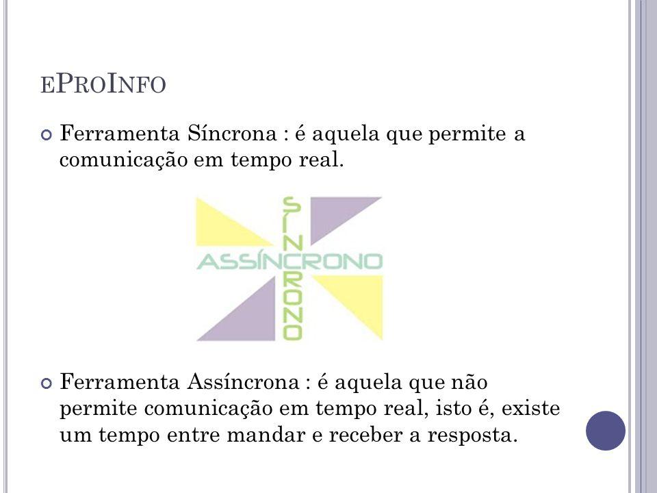 E P RO I NFO Ferramenta Síncrona : é aquela que permite a comunicação em tempo real. Ferramenta Assíncrona : é aquela que não permite comunicação em t