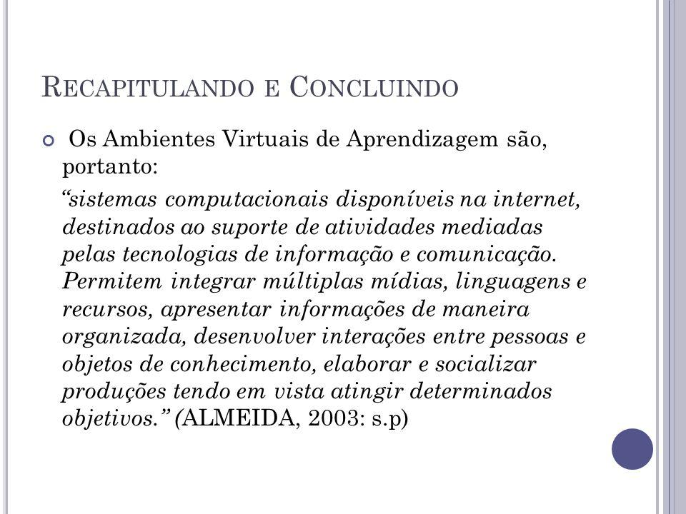 R ECAPITULANDO E C ONCLUINDO Os Ambientes Virtuais de Aprendizagem são, portanto: sistemas computacionais disponíveis na internet, destinados ao suporte de atividades mediadas pelas tecnologias de informação e comunicação.