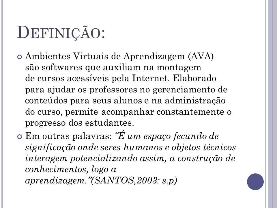 D EFINIÇÃO : Ambientes Virtuais de Aprendizagem (AVA) são softwares que auxiliam na montagem de cursos acessíveis pela Internet.