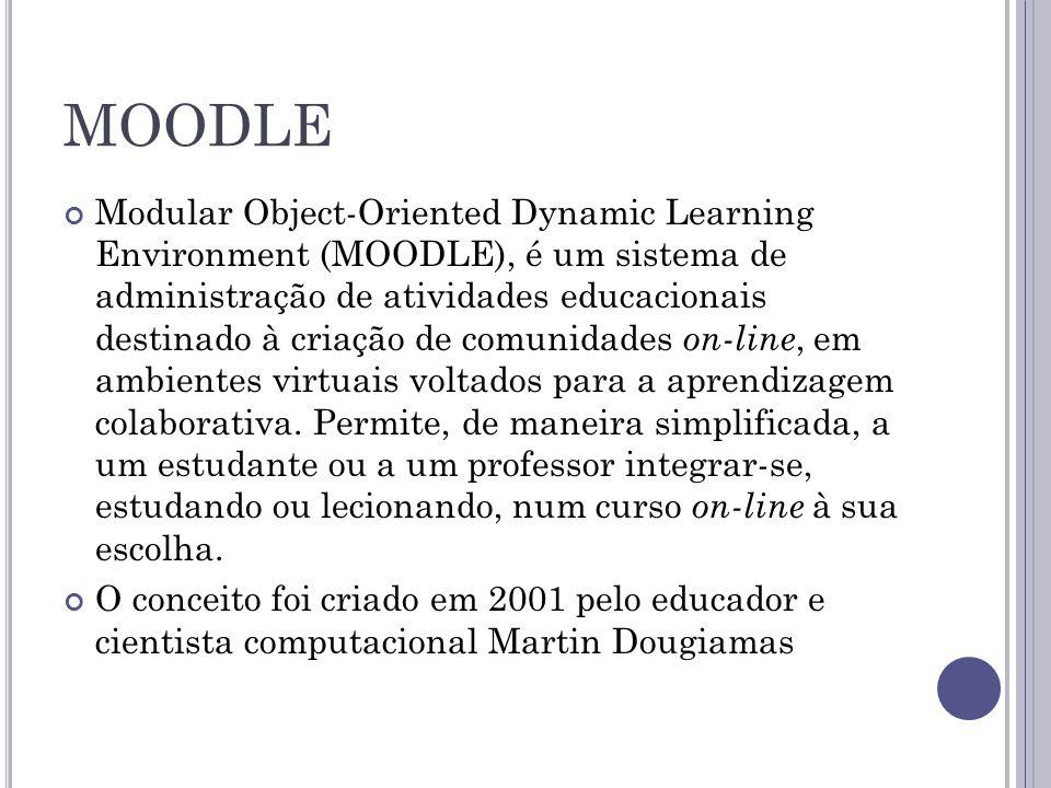 MOODLE Este ambiente virtual de apoio à aprendizagem possui código aberto, livre e gratuito.