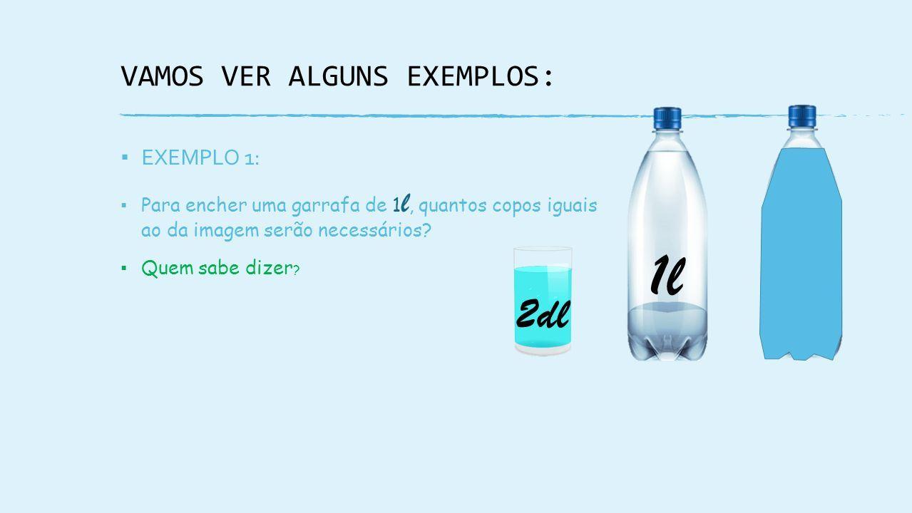 VAMOS VER ALGUNS EXEMPLOS: ▪ EXEMPLO 1: ▪ Para encher uma garrafa de 1 l, quantos copos iguais ao da imagem serão necessários.