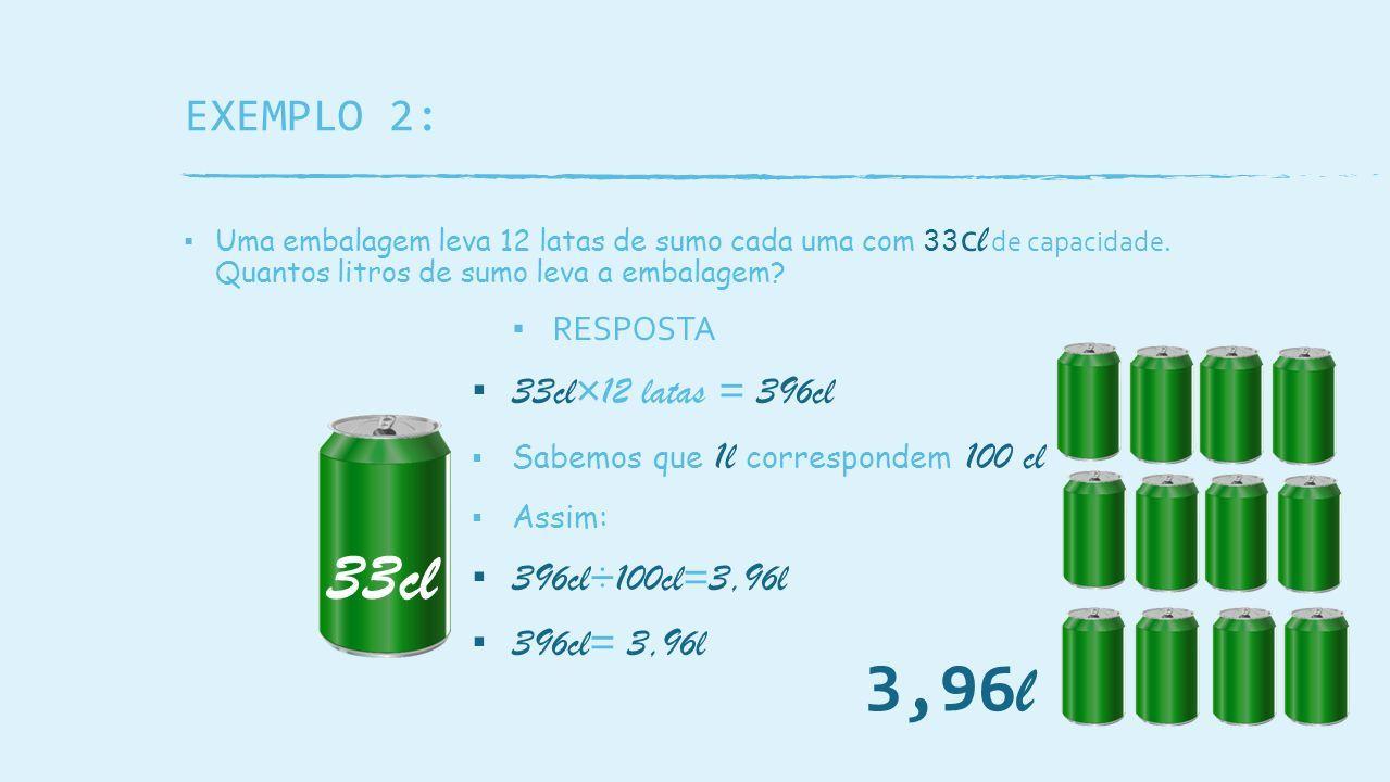 EXEMPLO 2: ▪ Uma embalagem leva 12 latas de sumo cada uma com 33 c l de capacidade.
