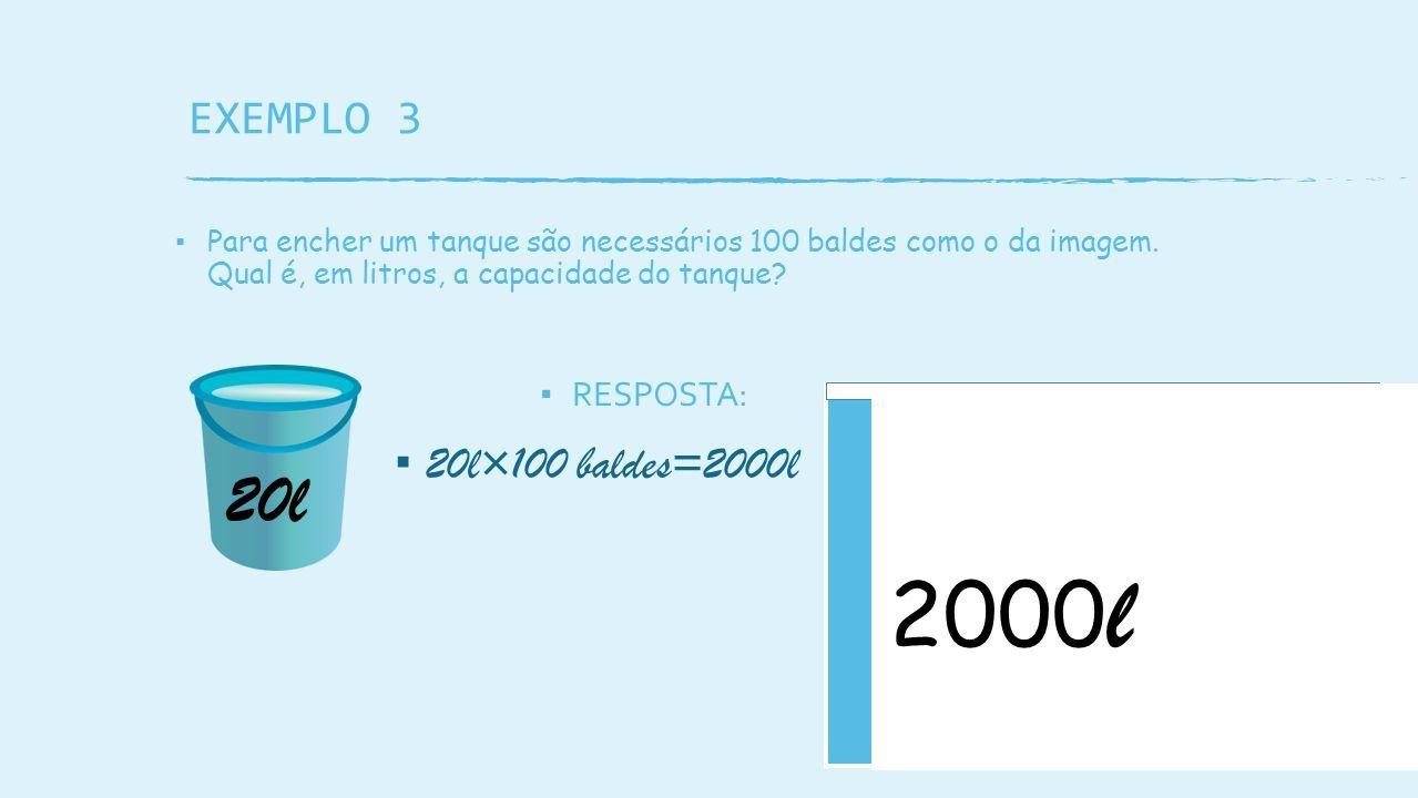 EXEMPLO 3 ▪ Para encher um tanque são necessários 100 baldes como o da imagem.