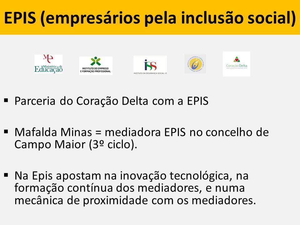 EPIS (empresários pela inclusão social)  Parceria do Coração Delta com a EPIS  Mafalda Minas = mediadora EPIS no concelho de Campo Maior (3º ciclo).