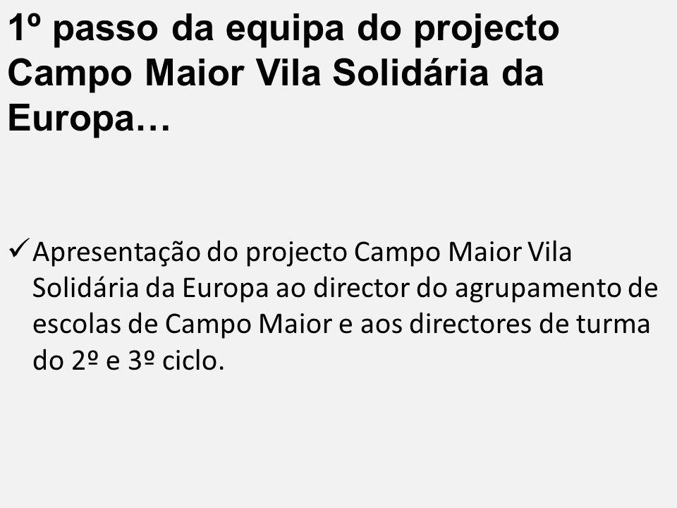 1º passo da equipa do projecto Campo Maior Vila Solidária da Europa… Apresentação do projecto Campo Maior Vila Solidária da Europa ao director do agrupamento de escolas de Campo Maior e aos directores de turma do 2º e 3º ciclo.